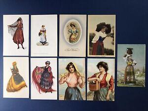 European 9 Pretty Ladies Greetings Antique Postcards, 1900s. Nice w Value