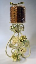 Ornate Metal Rustic Candle Holder With Roses and Vines and Gold Candle