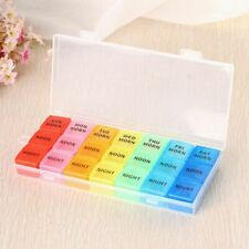 Pill Case 21 Slot 7 Day Medication Storage Case AM PM Organiser Dispenser Box