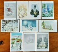 Collection of 10 New Vintage Style CHRISTMAS Church Postcards Noel Greetings KF5