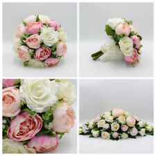 Silk Artificial Wedding Flowers Pink Peony Ivory Rose Package Bouquet Buttonhole