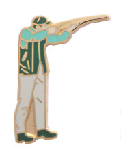 Clay Pigeon Shooting Gun Pin Badge
