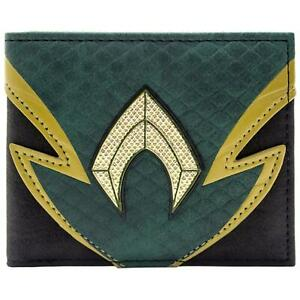 NEW OFFICIAL DC AQUAMAN SCALY SUIT STYLE GREEN ID & CARD BI-FOLD WALLET