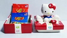 HELLO KITTY Ceramic Jelly Belly Hand Painted Candy Dish + 2 Bags of Jelly Beans