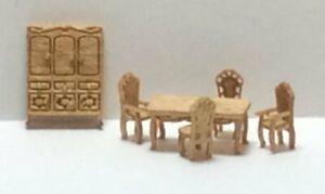 Dollhouse Miniature 1:144 Furniture Victorian Style Dinning Room  Complete Kit