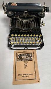Vtg Antique L.C. Smith & Corona 3 Folding Manual Typewriter (A35)