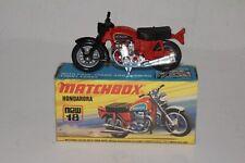 MATCHBOX SUPERFAST #18 HONDARORA MOTORCYCLE, BLACK FORKS, BOXED