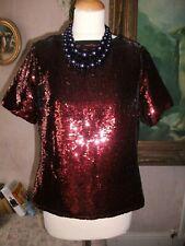 Ladies Copper/Red sequin top size 10