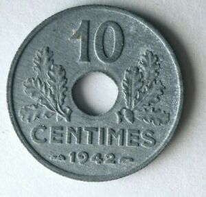 1942 VICHY FRANCE 10 CENTIMES - AU - Great Vintage Coin -  Lot #f28