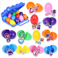 12pcs Colorful Plastic Eggs With Princess Pretend Jewelry Easter Party Decor Toy