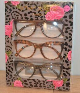 Betsey Johnson 3 Pair Large Cat Eye Readers Cheetah Blk Gray NIB