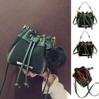 Drawstring Small Mini Real Leather Single Shoulder Bag Crossbody Bucket Purse