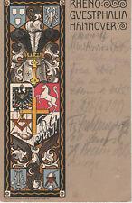 Studentika Couleurkarte 1921 Rheno-Guestphalia Hannover Studentika KV KStV AV