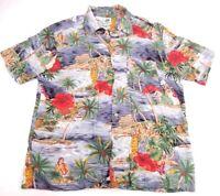 Kennington Ltd Mens Large Hawaiian Aloha Camp Floral Hula Girl Print Rayon Shirt