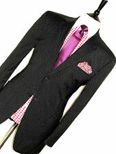 MENS VERSACE CLASSIC ITALIAN TAILOR-MADE BLACK PINSTRIPE SUIT 42R W36  X L32