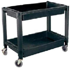 Plastic Utility Service Cart For Tools Parts With Two Shelves Auto Garage Shop