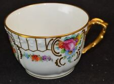 Dresden Flowers Oversized Cup Thick Gold Scroll Handles