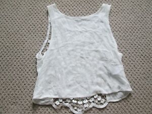 H&M Divided cream tank top with crochet detail in back