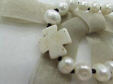 10mm Freshwater Pearl W/White TQ Cross Handmade Braided Bracelet US Seller