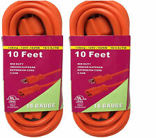 2x 10FT Orange Indoor Outdoor Extension Electric Power Cord Cable 16 Gauge STL-9