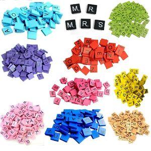 Wooden Scrabble Tiles set 100 Colored Tiles Kids Craft Pendant Spelling Alphabet