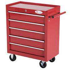 Roller Tool Cabinet 5Drawers Red Trolley Cart Storage Shelf Roller DIY Equipment