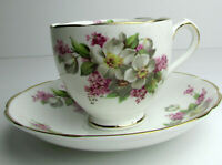 Duchess Bone china cup and saucer pink white yellow flowers Made in England