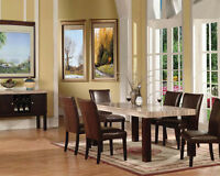 Modern Contemporary Casual Marble Top Table Espresso Dining Room Dining Set 7pc