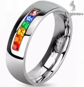 Quality Cz Crystal Gay Pride LGBT Rainbow Half Eternity Band Unisex Ring