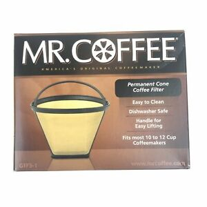 Mr. Coffee Permanent Cone Filter #4 - 10 to 12 Cups - Gold Tone GTF3-1 - NEW