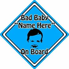 Personalised Bad Baby/Child On Board Car Sign ~ Baby Face Silhouette ~ Blue