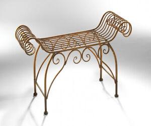 Metall Hocker im Barock Stil Natur Rost Garten Nostalgie Sitz Bank Stuhl Vintage
