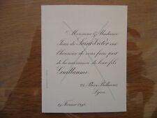 1898 Faire Part Naissance Guillaume de Saint Victor LYON place Bellecour