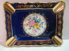 Porcelaine d'Art - Imperial - Cobalt Blue Gold Flowers Ashtray - Limoges France