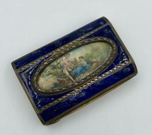 Antique Silver Enamel Box Hand Painted Courting Miniature Bird Cage Dog Lamb