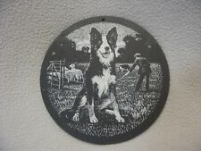 Round Etched Slate, Picture- Sheep Dog Scene