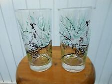 Vintage CARDINAL Bird Pine Cones Tree Etched Drinking Glasses Tumblers  Set of 2