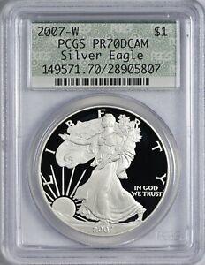 "2007 W American Silver Eagle PCGS PR70 Deep Cameo - Retro ""Doily""-Like Label"