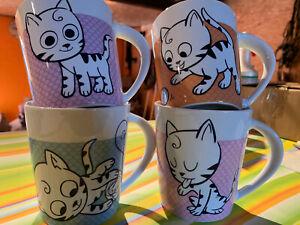 Happy Cat Sammlertassen Kaffetassen Porzellan 4 Stück