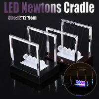 Newtons Cradle LED Light Up Kinetic Energy Science Toys Office Home Decor SALE