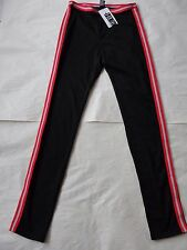 NWT $48 Hue Women Sporty Stripe Ponte Leggings U16102 Sz M Black