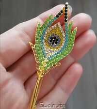 Gold Vintage Style Peacock Feather Brooch Green Diamante Crystal Pin Broach UK