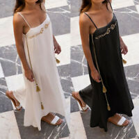 Plus Size Womens Long Cami Dress Ladies Strappy Slip Beach Party Chain Sundress