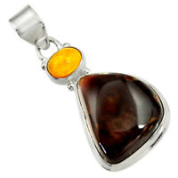18.15cts Natural Multi Color Mexican Fire Agate 925 Silver Pendant D43461