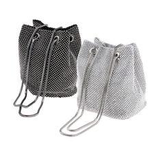2x Womens Fashion Full Drilled Bucket Bag Portable Evening Bag Handbag Purse