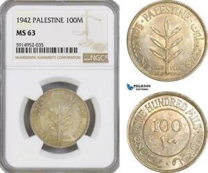 AG077, Palestine, 100 Mils 1942, London, Silver, NGC MS63