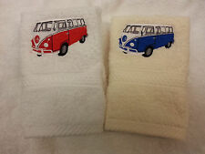 A PERSONALISED VW CAMPERVAN FACE CLOTH CHRISTMAS GIFT ANY NAME EMBROIDERED!