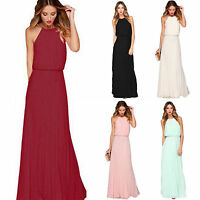 Women Boho Chiffon Sleeveless Long Maxi Dress Summer Casual Evening Party Beach