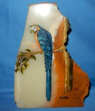 "Blue Parrot Painting on 9 7/8"" tall x 7"" wide Agate Rock Slab Petrified Wood ?"