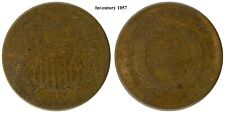 1866 2c two cents, very worn, nice surface color